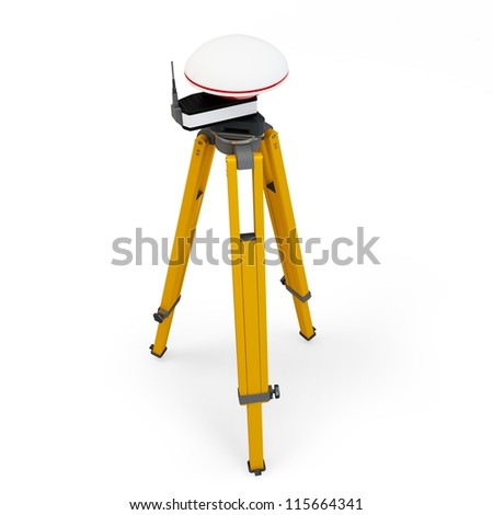 3d gps station theodolite  isolated on white - stock photo