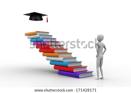 3d graduate with books and graduation hat - stock photo