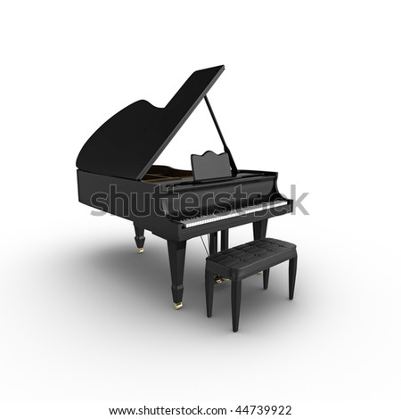 3d grand piano and stool, isolated on a white background