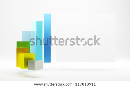 3d graph and board - stock photo
