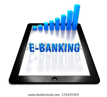 3d graph and e-banking concept on digital tablet - stock photo