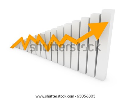 3d graph arrow gold high isolated on white background - stock photo