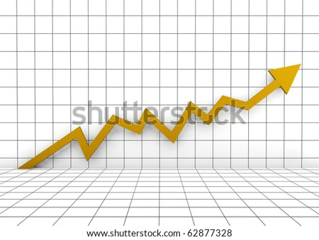 3d graph arrow gold yellow high isolated on white background - stock photo