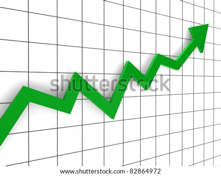 3d, graph, arrow, green, success, finance, diagram - stock photo