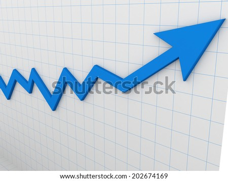 3d graph arrow high isolated on white background - stock photo