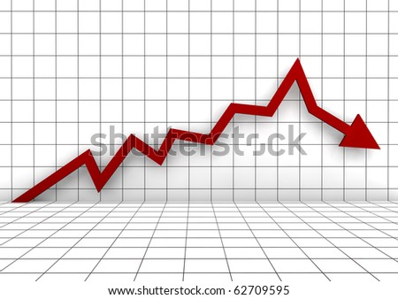 3d graph arrow red down isolated on white background