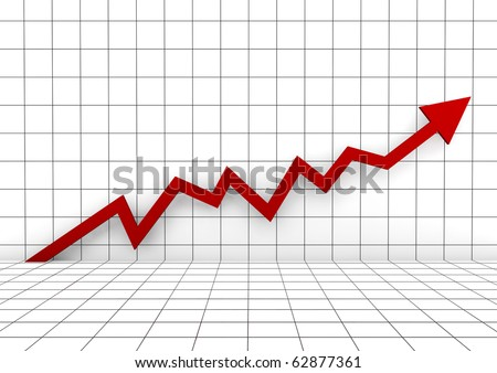 3d graph arrow red high isolated on white background - stock photo