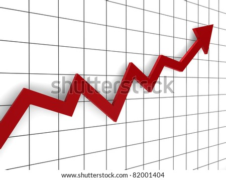 3d, graph, arrow, red, success, finance, diagram