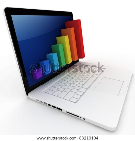 3d graph diagram bars with laptop on white background - stock photo
