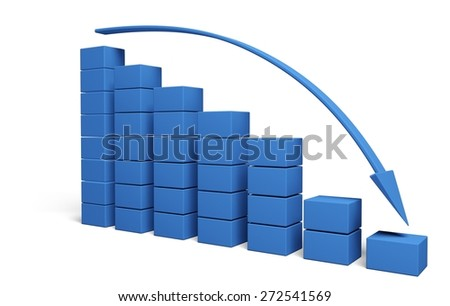 3D. Graph, Finance, Moving Down. - stock photo