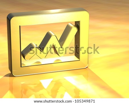 3D Graph Gold Sign over yellow background - stock photo