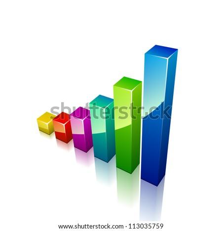 3d graph growing up - stock photo