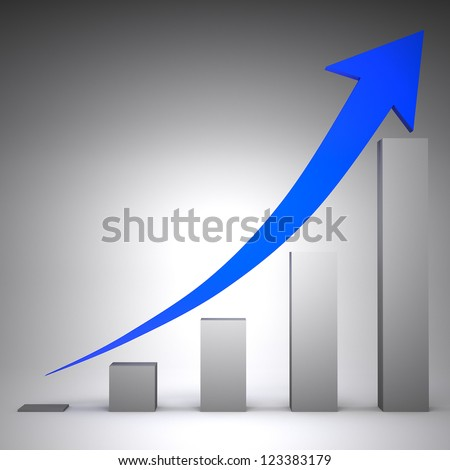 3d graph showing rise in profits - stock photo