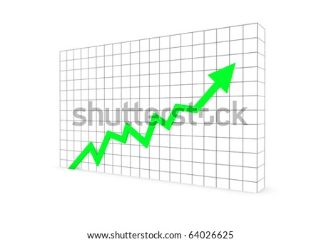 3d graph wall arrow green high isolated on white background - stock photo