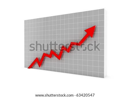 3d graph wall red arrow high isolated on white background - stock photo