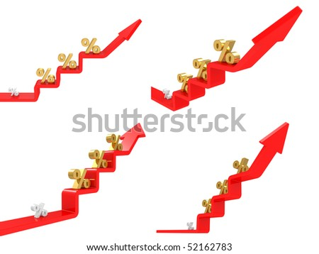 3D graph with percents isolated on a white background - stock photo