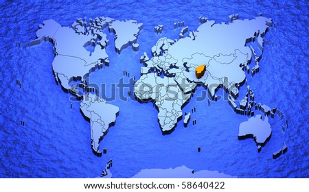 3 d graphic depicting world map highlighting stock illustration 3d graphic depicting a world map highlighting afghanistan gumiabroncs Gallery