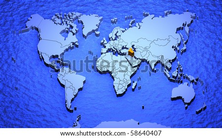 3d graphic depicting world map highlighting stock illustration 3d graphic depicting a world map highlighting iraq gumiabroncs Gallery