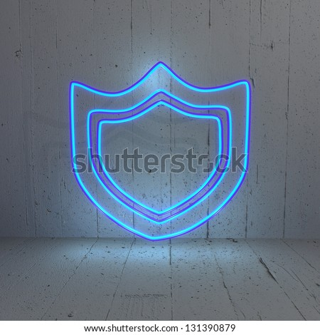 3D graphic Illuminated  firewall protection symbol in a stylish background - stock photo