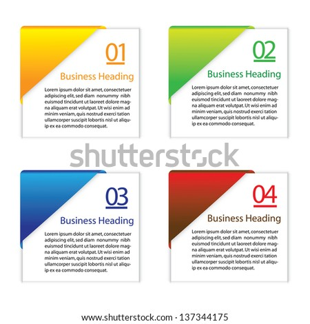 3D graphic illustration of colorful blank or empty paper info cards(slips) for displaying messages and other information