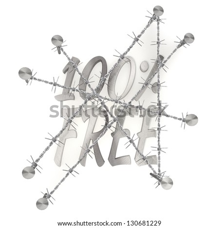 3d graphic   in steel  arrest with 100 percent free free sign - stock photo
