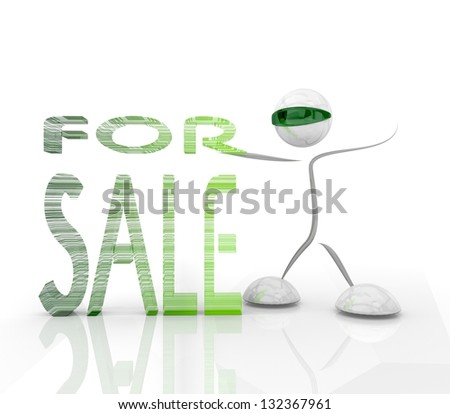 3D graphic Isolated For sale icon with a futuristic character on a white   background