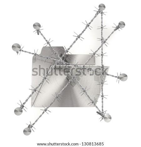 3d graphic razor wire  arrest  with metallic folder icon - stock photo