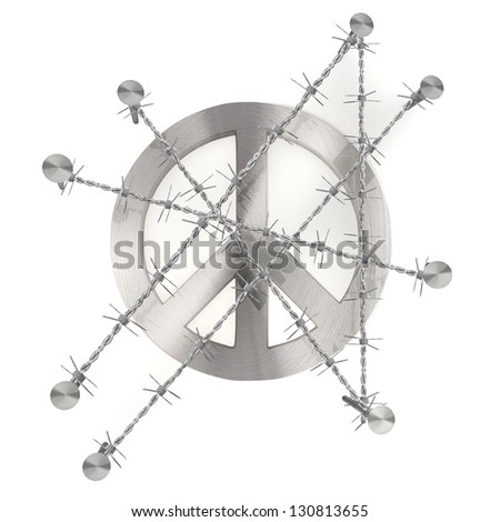 3d graphic with razor wire  arrest  with barbed peace sign - stock photo