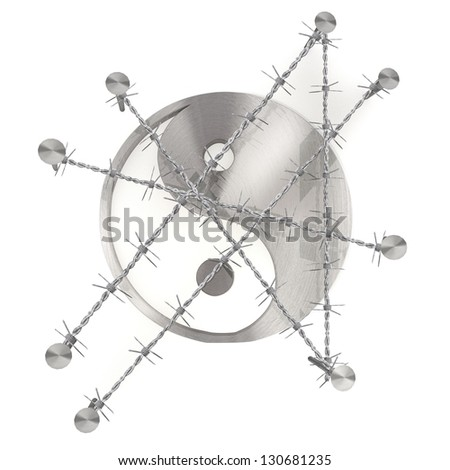 3d graphic with razor wire arrest  with barbed ying yang sign - stock photo