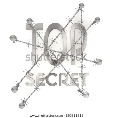3d graphic with razor wire arrest  with isolated top secret icon - stock photo