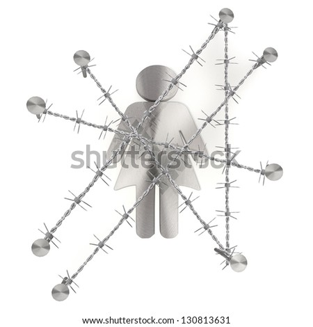 3d graphic with razor wire arrest with isolated woman icon - stock photo