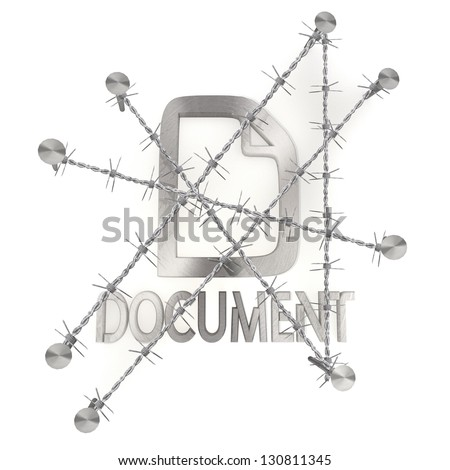 3d graphic with razor wire  arrest with locked document icon - stock photo