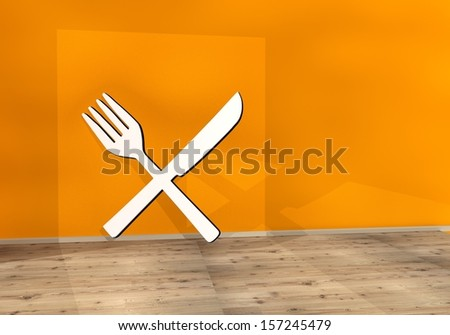 3d graphic with warm restaurant sign on an orange wall