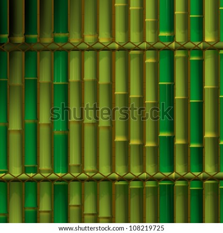 3D graphics, background from the trunks of bamboo - stock photo