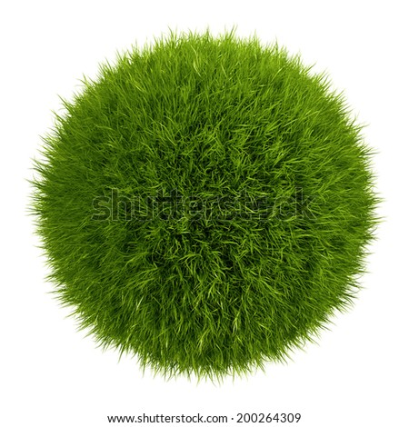 3d grass ball, isolated object - stock photo