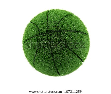 3d grass basketball with flowers.3d grass ball. Recycle concept. 3d image render. Isolated white background. - stock photo