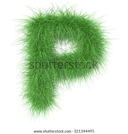 "3d ""Grass"" creative decorative letter P - stock photo"