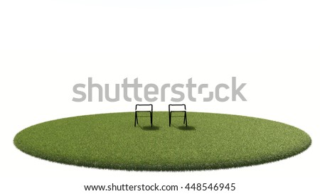 3D grass isolated with chair  on white background.