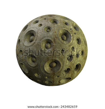 3d gray speaker sound system planet over white - stock photo