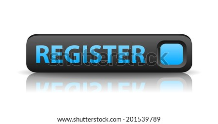 3D gray web button with blue sign register and reflection (raster version, available as vector too) - stock photo