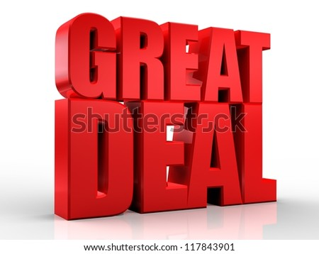 3D great deal word on white isolated background - stock photo