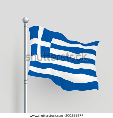3d Greece flag blowing in a breeze - stock photo