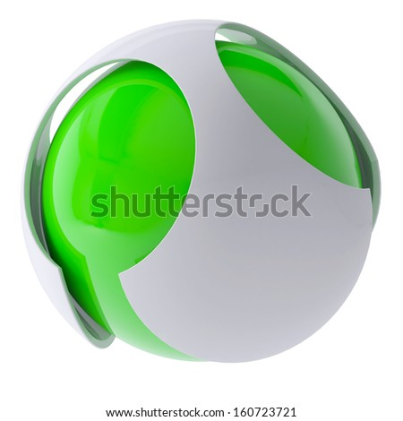 3d green abstract sphere. 3d render isolated on white background