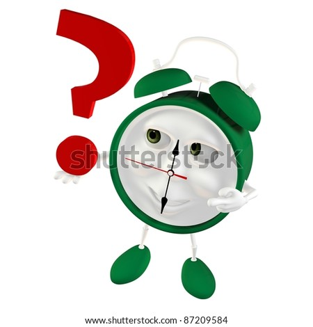 3d green Alarm clock - stock photo