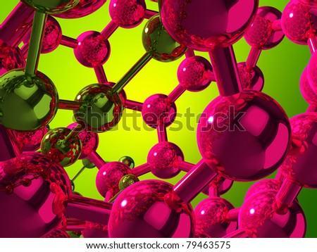 3D green and violet reflective atoms on green background - stock photo