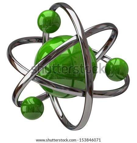 3d green atom isolated on white background - stock photo