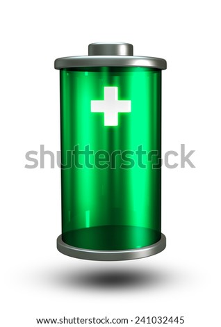3D Green Battery icon Full Power energy, plus sign object isolated - stock photo