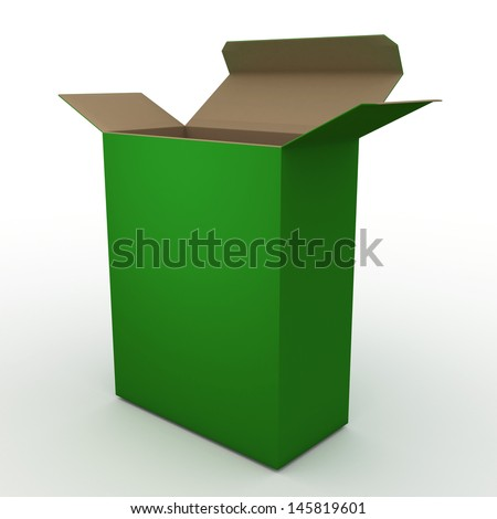 3d green box packaging blank template in isolated with clipping paths, work paths included