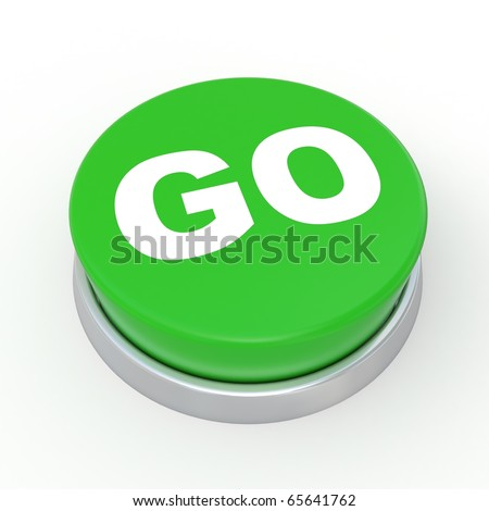 3d green button with text GO - stock photo