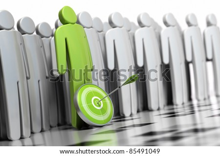 3d green character with a dart in front of his legs with an arrow hitting the center. there is many other grey character at the backside they are blurred - stock photo